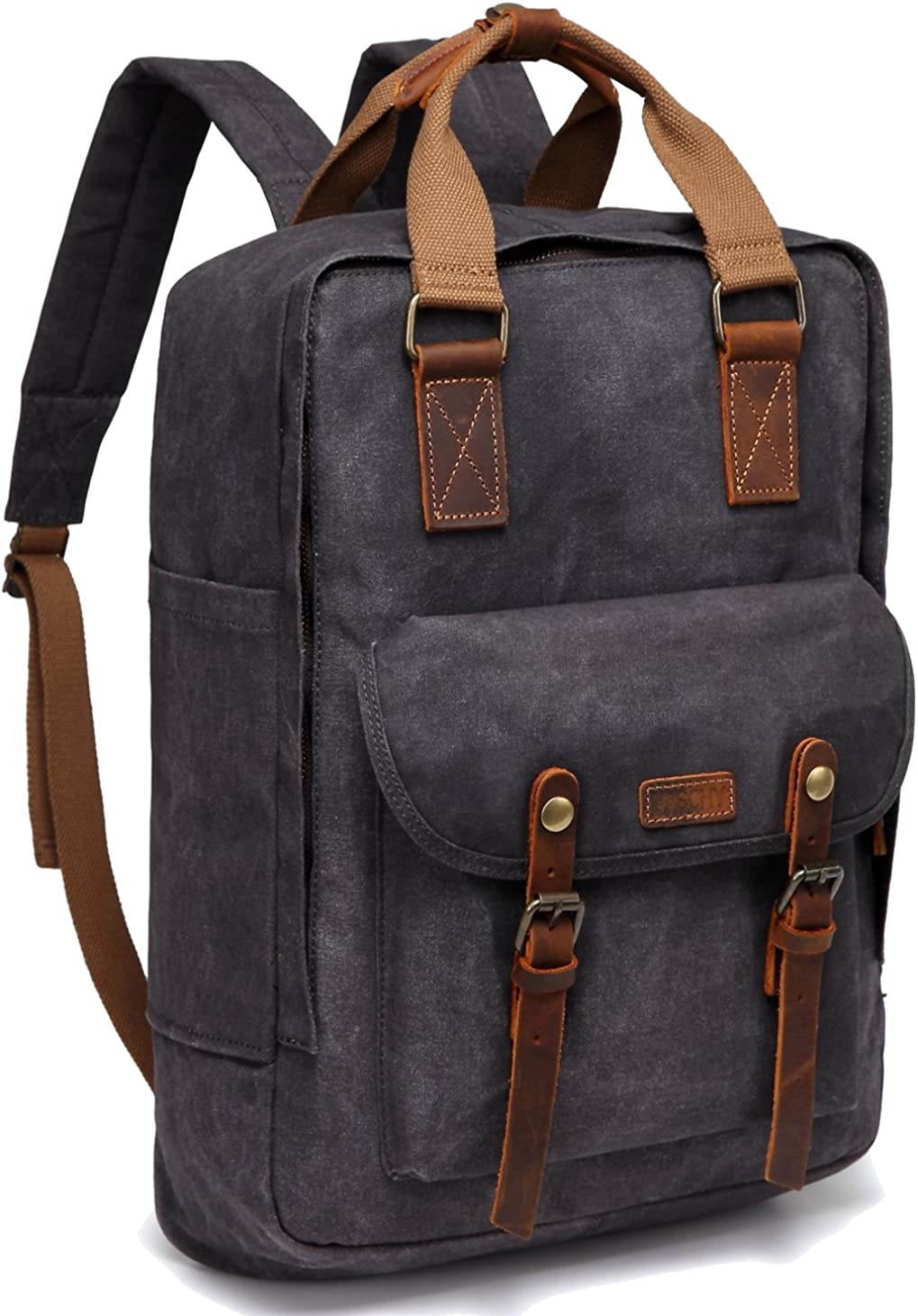 Canvas Laptop Backpack,VASCHY Vintage Waxed Canvas Anti-theft Backpack for Men Fits 15.6inch Laptop