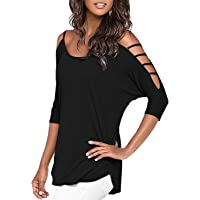 Mooncolour Women's Hollow Out Casual Loose Solid Blouse Tops