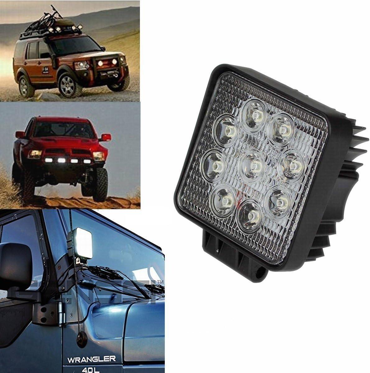 Adicionales L/ámparas de Campo a Trav/és de la Linterna 12V 24V luz de Marcha Atr/ás ATV Offroad Foco Reflector Foco de Trabajo LARS360 4x 27W LED Focos de Trabajo UTV Faros de Trabajo de SUV