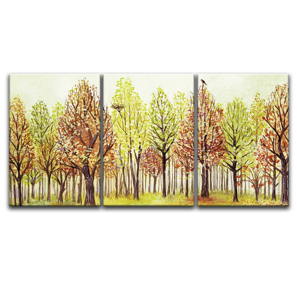 wall26 - 3 Panel Canvas Wall Art - Watercolor Style Colorful Trees ...