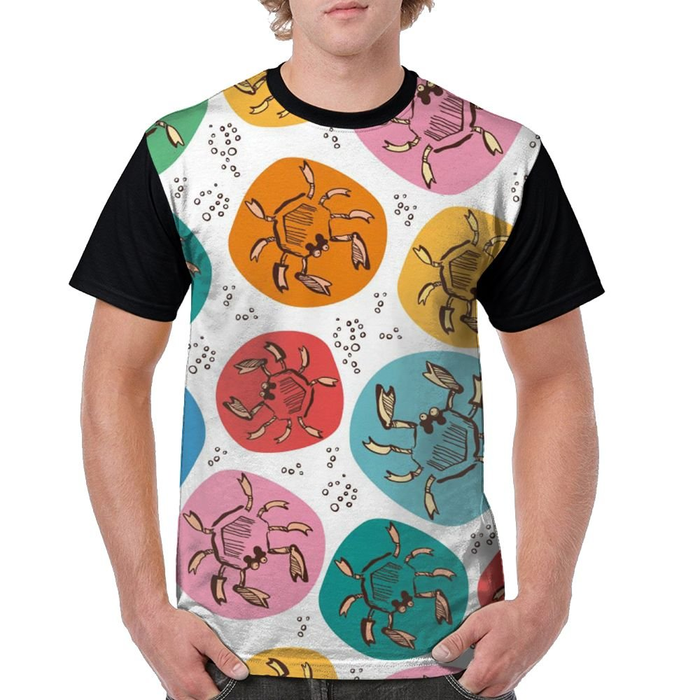 CKS DA WUQ Crab In Color Dots Men's Raglan Short Sleeve Tops T-Shirt Comfort Undershirts Baseball Tees