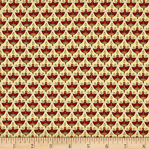 Cream Manor (QT Fabrics 0566023 Manor House Foulard Cream/Brick Fabric by The Yard)