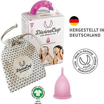 DIVINE CUP copa menstrual tamaño XS, extra pequeña - Clínicamente probada, nota MUY BIEN - 100 % Made in Germany - Rosa, disponible en cuatro colores ...