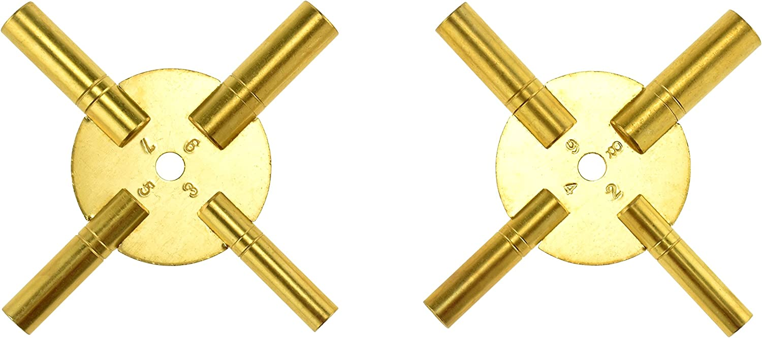 Clock Winder Winding Set of 2 Key BRASS Even and Odd Numbers Universal  NEW