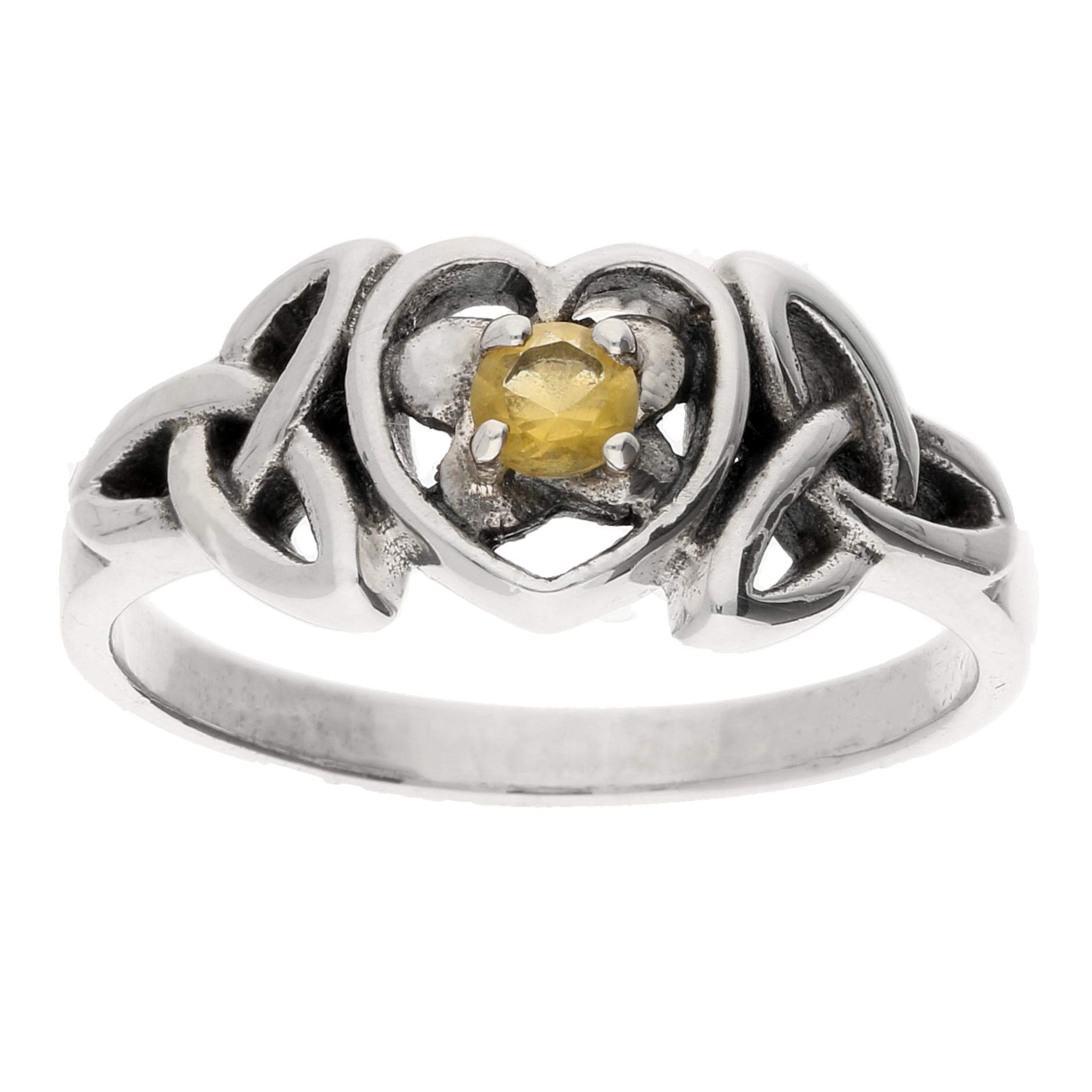 November Birthstone Ring - Sterling Silver Simulated Citrine Glass Celtic Trinity Knot Heart Size 5(Sizes 4,5,6,7,8,9,10)