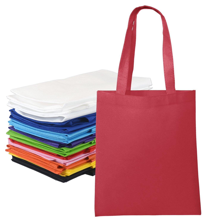 Amazon.com: 10 Pieces Bulk Colorful Nonwoven Polyester Tote Bag ...