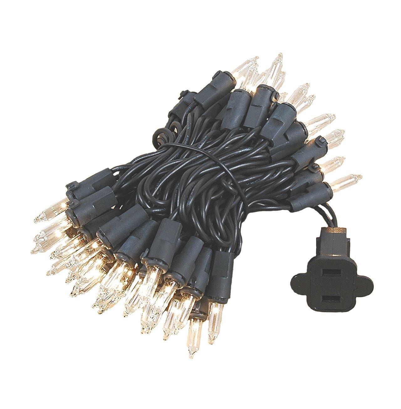 Novelty Lights 50 Light Clear Christmas Mini Light Set Black Wire 11' Long