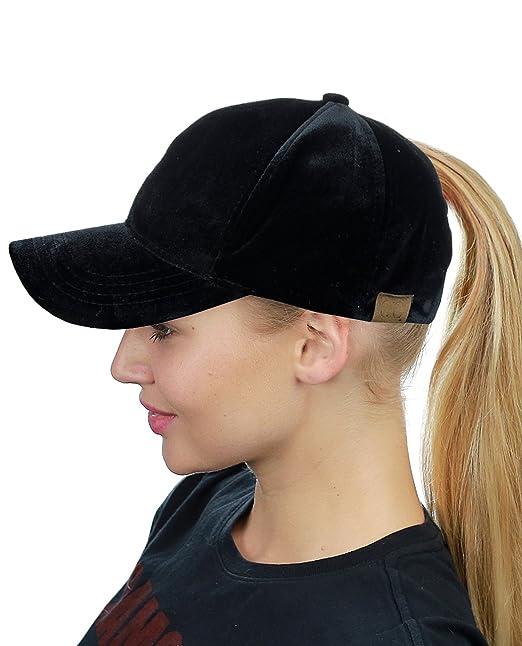 C.C Ponycap Messy High Bun Ponytail Soft Velvet Adjustable Baseball Cap Hat b0f277bc0f0