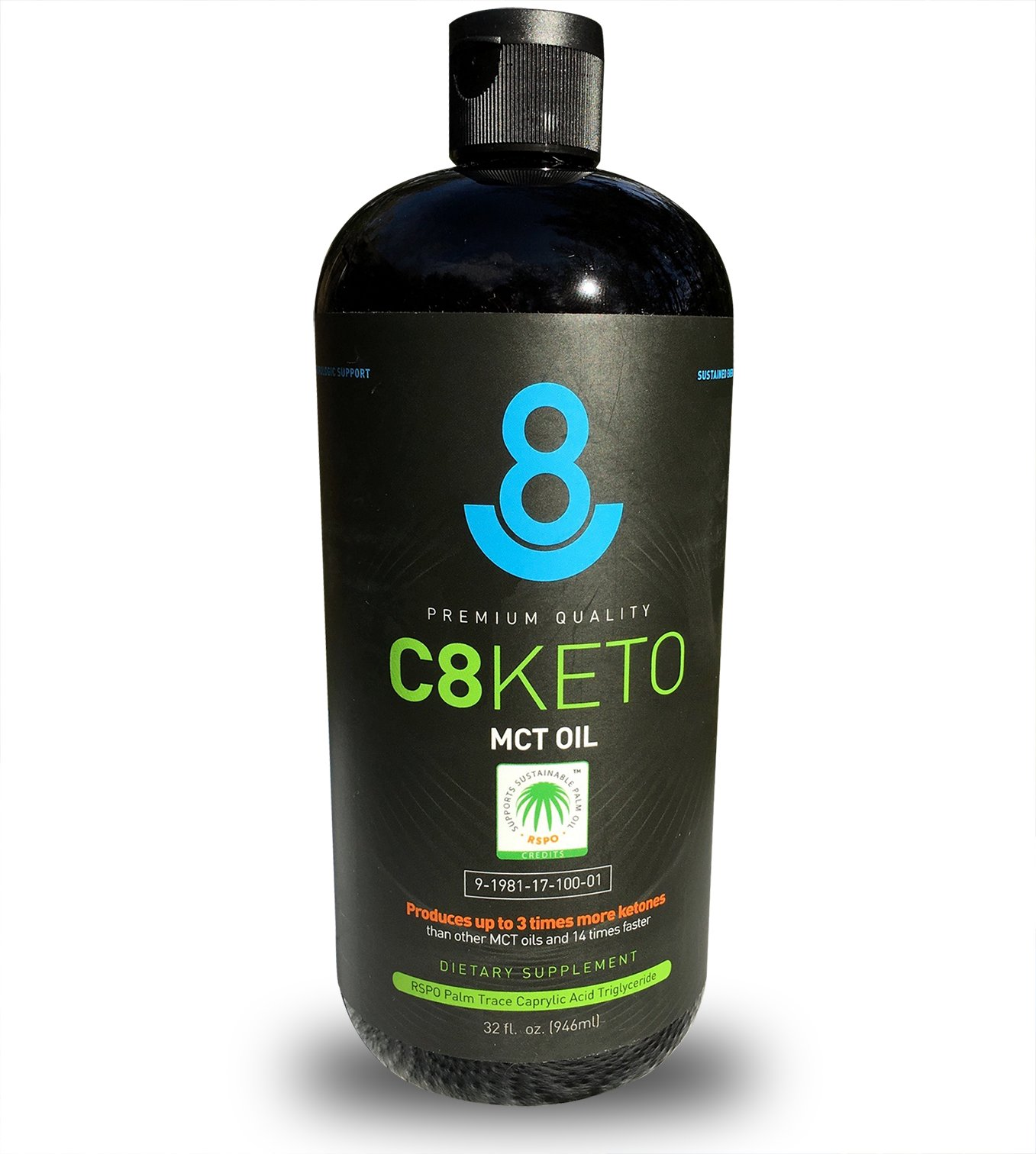 3-Pack, C8 Keto MCT Oil, 32 oz, 99.6% C8, Extreme Ketone Booster, RSPO Sustainably Harvested