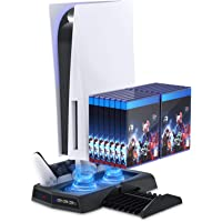 Vertical Stand with Cooling Fan for PS5 Console and PS5 Digital Edition, YUANHOT Charging Station Dock with Dual…
