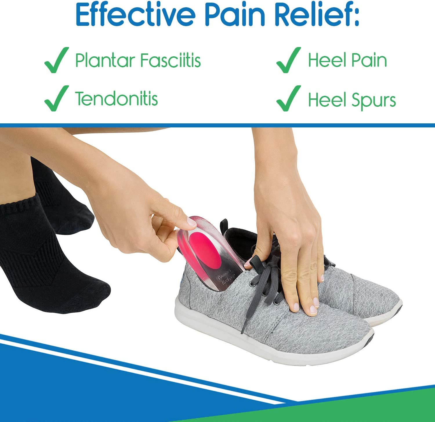 ViveSole Silicone Gel Heel Cups - Shoe Inserts for Plantar Fasciitis, Sore Heel, Bone Spur & Achilles Pain Relief Protectors - Foot Comfort Pads - Support (1 Pair, US Women's (4.5-8.5)): Health & Personal Care
