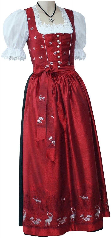 Designer-Dirndl Trachtenkleid Dirndlkleid Festtracht Trachten-Kleid Hirsch rot