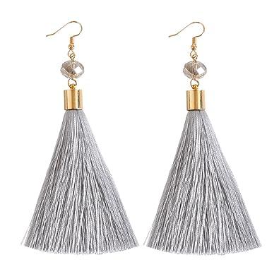 NLCAC Women Thread Tassel Dangle Earrings Silk Fringe Drop For Parties Grey