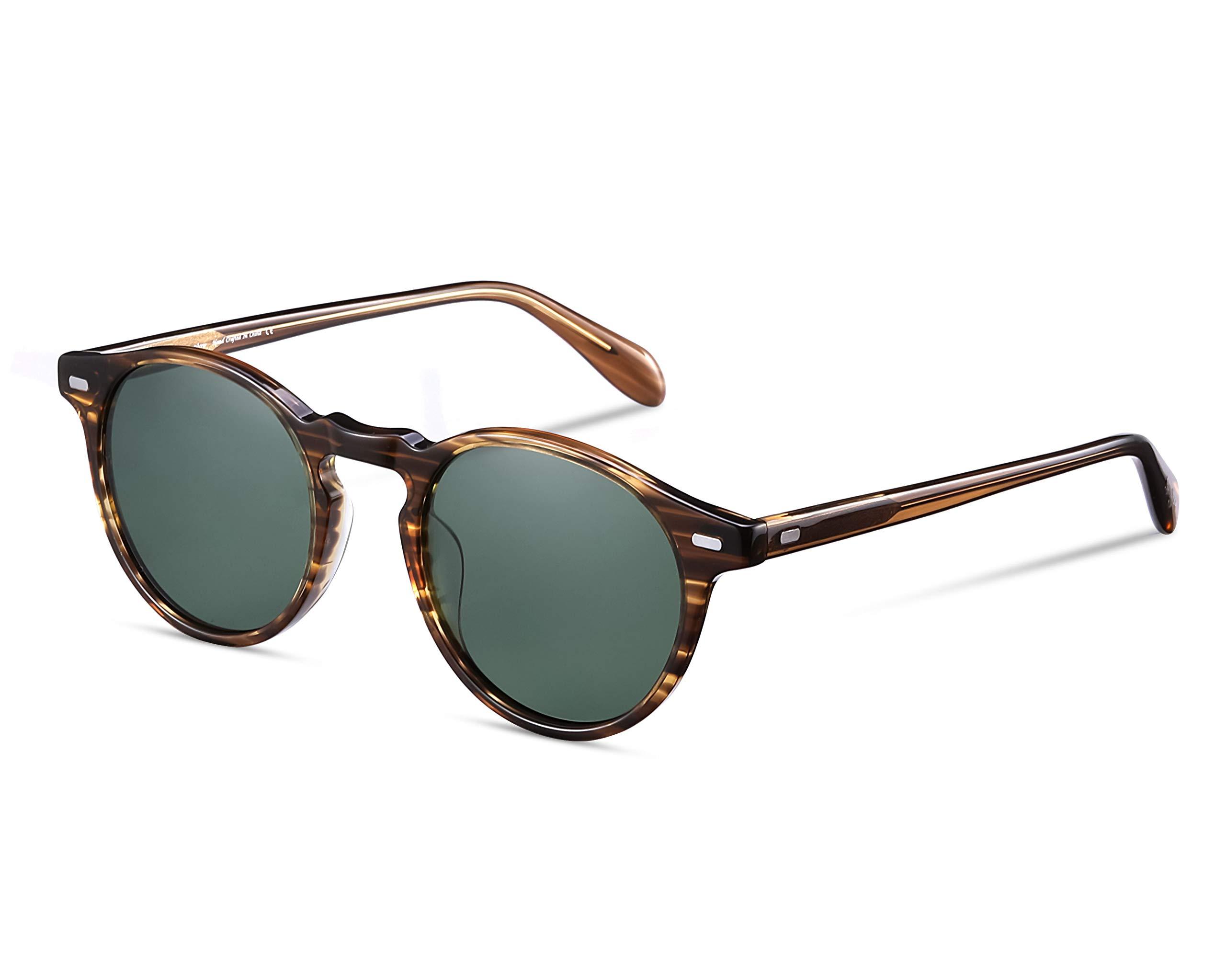 EyeGlow Vintage Round Sunglasses Women Sunglasses Men Polarized Lens 5187 Acetate material (Blonde vs green polarized lens, As pictures) by EyeGlow (Image #1)