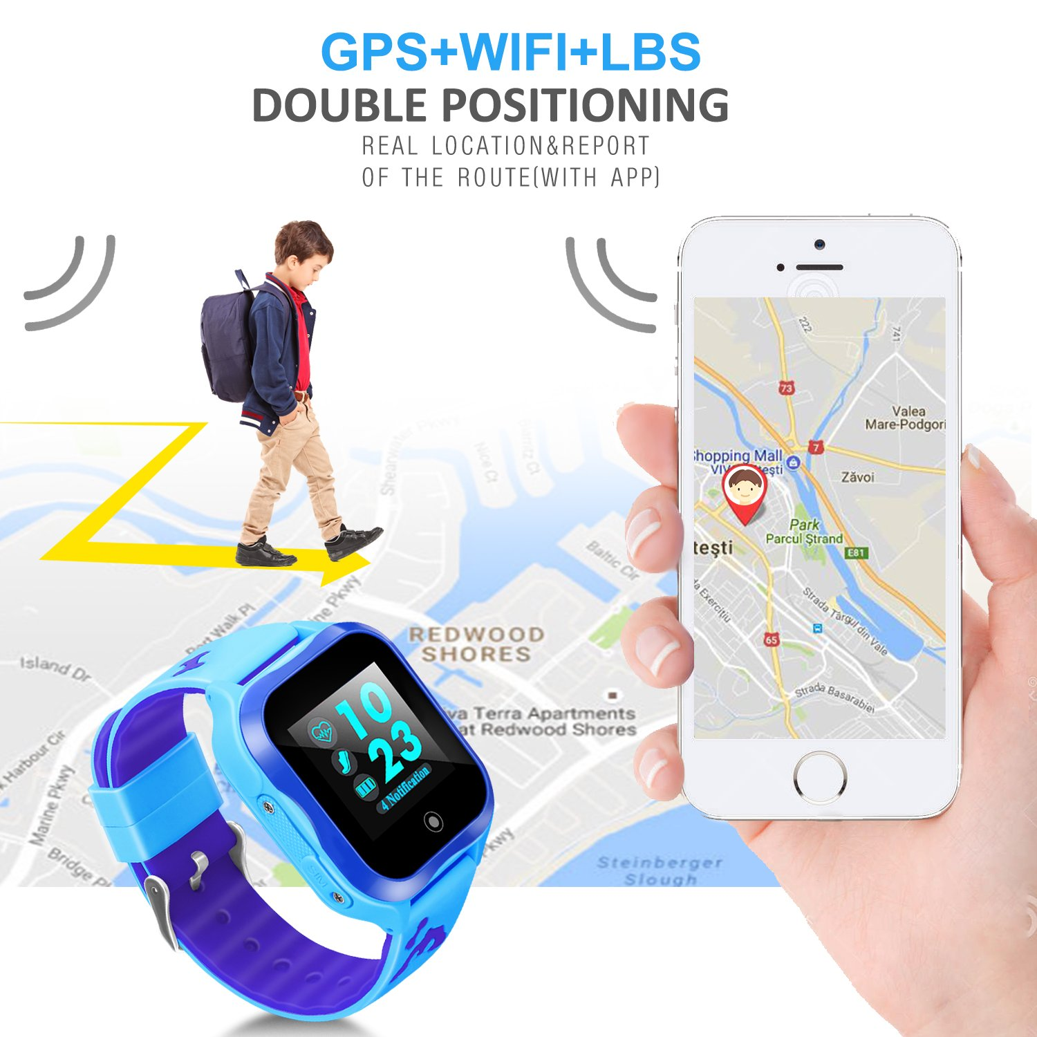 LJRYCQSSZSF Kids Smart Watch Phone GPS Tracker Ip67 Waterproof Kids Smartwatches Age 3-15 Boys Girls Touch Screen SIM Slot Educational Toys Phone 1.44 Inch Birthday Gift (Blue) by LJRYCQSSZSF (Image #3)
