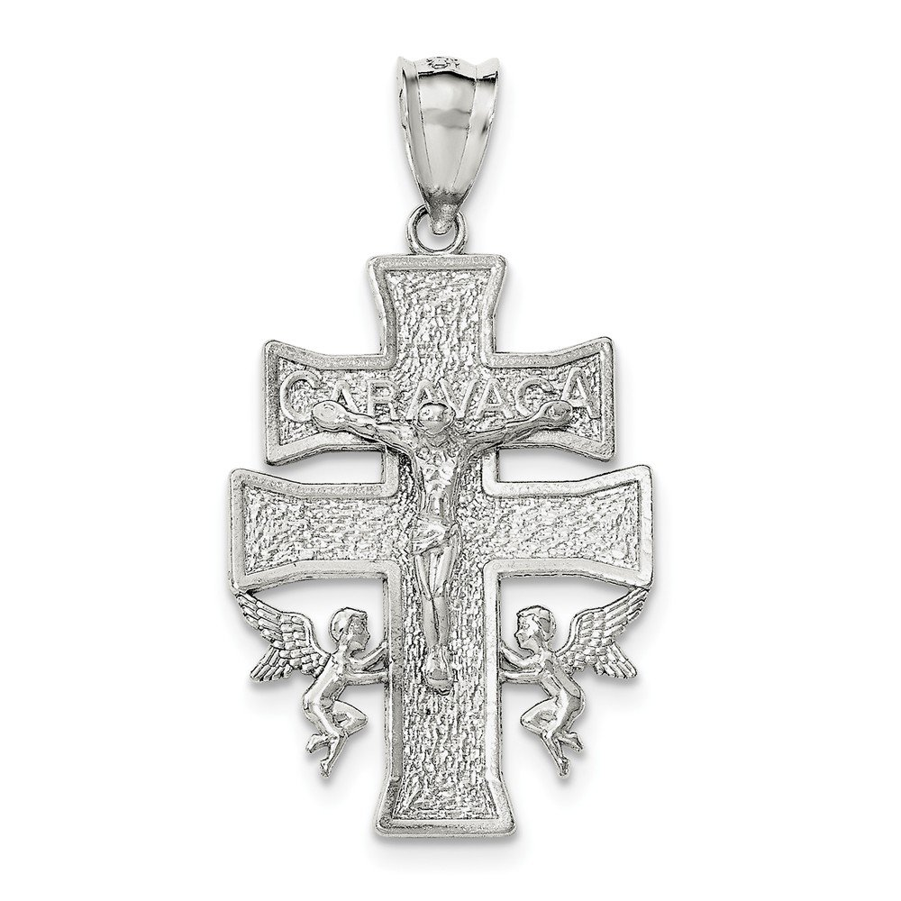 Sterling Silver Polished Large Caravaca INRI Crucifix Cross Pendant