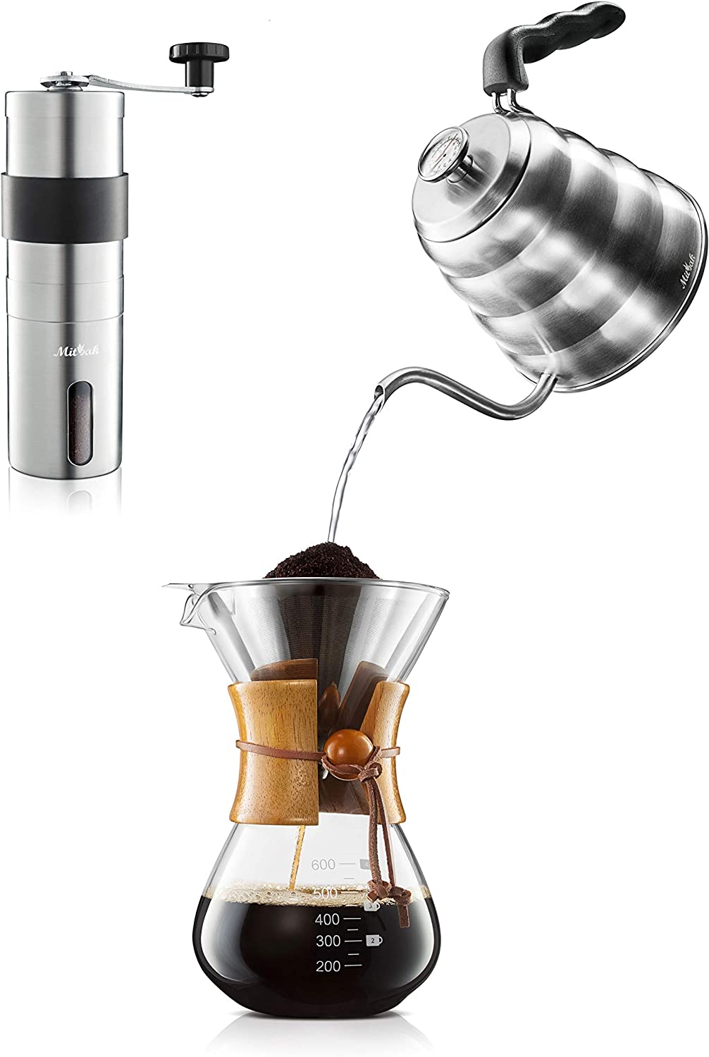 MITBAK Pour Over Coffee Maker Set | Kit Includes Gooseneck Kettle with Thermometer, Coffee Mill Grinder & Coffee Dripper Brewer | Great Replcaement for Coffee Machines