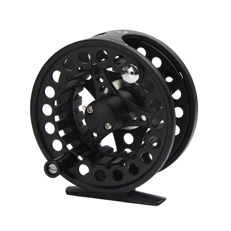 Croch フライフィッシング用リール CNC加工されたアルミニウム合金ボディ+ 100 フィート フライフィッシング用釣り糸 + バッキング + テーパードリーダー B01LWPOU4G 5/6 reel only|Black reel Black reel 5/6 reel only