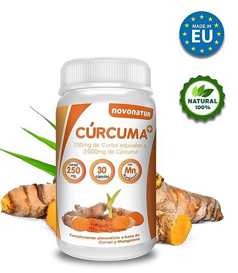 Curcuma en cápsulas con Manganeso, 250 mg de cursol equivalente a 2.000 mg de curcuma