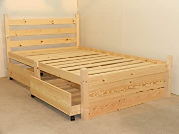 Double pine bed with FOUR storage drawers- Heavy Duty for adult use - 4ft  small