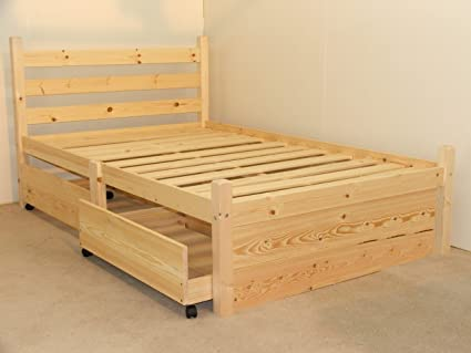 hot sale online c9d52 c23d9 Strictly Beds and Bunks Limited Double pine bed with FOUR storage drawers-  Heavy Duty for adult use - 4ft small double solid pine wooden bed frame