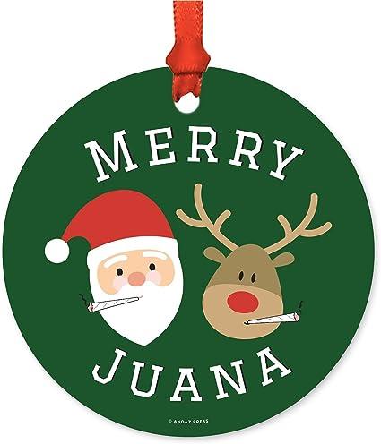 Amazon Com Andaz Press Marijuana Pot Cannabis Weed Round Metal Christmas Ornaments Merry Juana Reindeer Smoking Pot Cigarette Includes Ribbon And Gift Bag Stoned Stoner Xmas Present Ideas Kitchen Dining