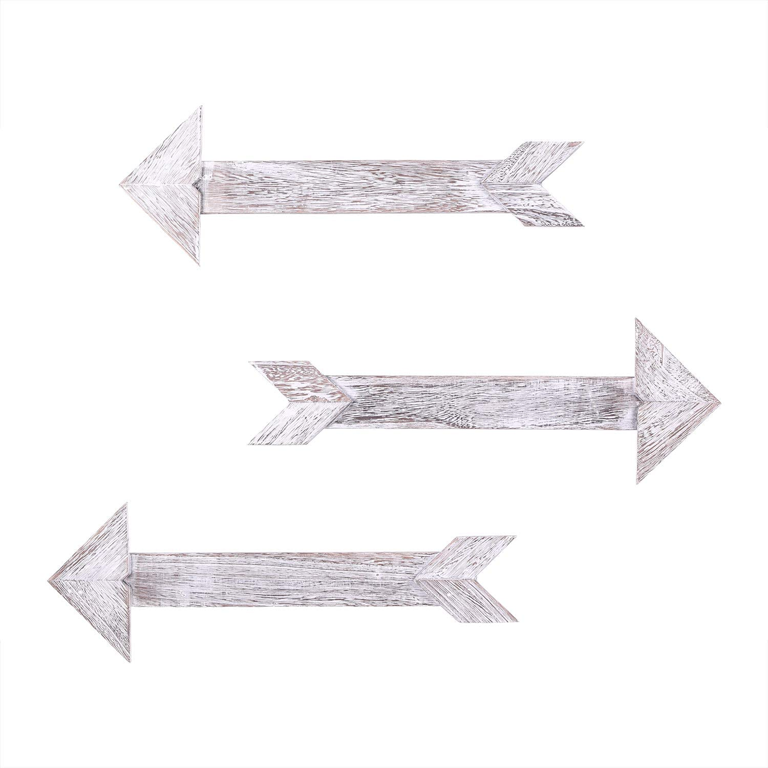 Comfify Arrow Barnwood Decorative Wooden Sign – Set of 3 Arrows for Wall Décor in Rustic White – Wood Decorative Signs - Rustic Home Décor Accents – Double Sided Stickers Included