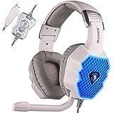 SADES A70 7.1 Surround Sound Stéréo Casque d'écoute Casque Gaming headset Casque avec microphone HiFi USB Plug Control Remote Cool Respiration LED Lights (Blanc)
