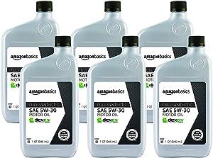 AmazonBasics Full Synthetic Motor Oil, SN Plus, dexos1-Gen2, 5W-30, 1 Quart, 6 Pack