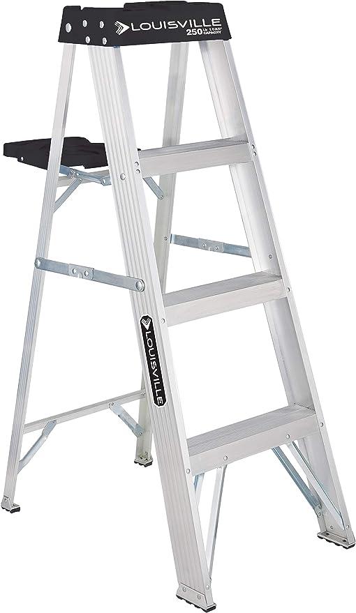 Louisville Escalera de aluminio de 4 pies, capacidad de 250 libras, tipo I, W-2112-04S: Amazon.es: Bricolaje y herramientas