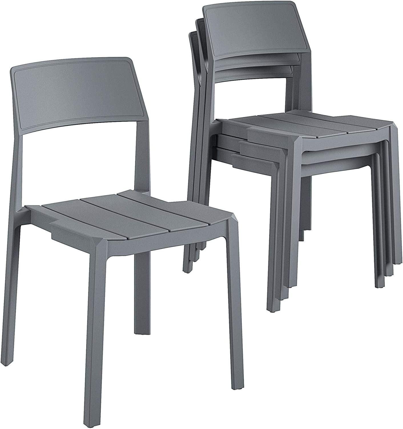 Novogratz Poolside Collection, Chandler Stacking, 4-Pack, Charcoal Dining Chairs