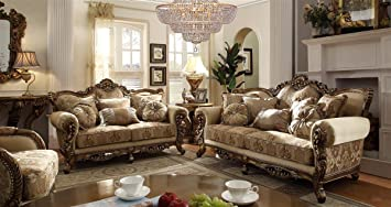 Amazon.com: Argentina Ivory Gold Upholstered Living Room Sofa ...