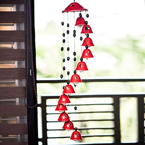 ExclusiveLane Melodious Sound Home Decorative Wind Chimes Cum Outdoor Garden Hanging with 12 Bells in Red (Red, Ceramic)