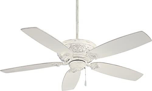 Minka-Aire F659-PBL Downrod Mount, 5 White Blades Ceiling fan, Antique White