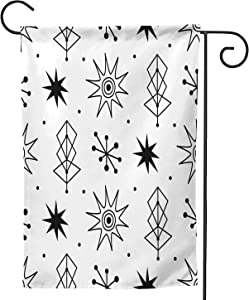 Hitecera Mid Century Modern Seamless Pattern.1950s Style Atomic,Welcome Garden Flag Double Sided Outdoor Decoration 28''x40''