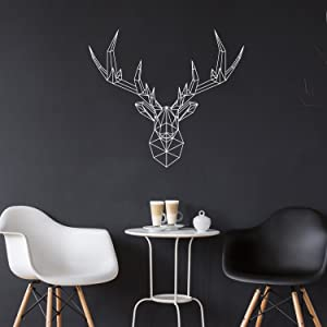 "Vinyl Wall Art Decal - Geometric Deer Head - 23"" x 26"" - Home Decor for Living Room Bedroom Boys Room - Peel and Stick Stencil Sticker Decals (23"" x 26"", White)"