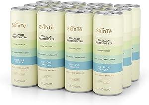 SkinTē Beauty Collagen Sparkling Tea - Super Herbs & Antioxidants. Non-GMO, Paleo-Friendly. Hibiscus Vanilla, 12oz. 12 Pack