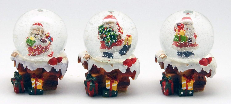 23016423x Santa Lot de 3 Mini Boules de Neige sur Socle de chemin/ée /Ø 45 mm avec Bulles