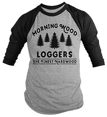 34510349d1 Amazon.com: Shirts By Sarah Men's Funny Offensive Lumberjack Shirt Morning  Wood Loggers 3/4 Sleeve Shirts: Clothing