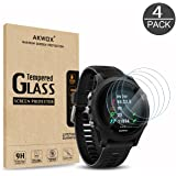 (Pack of 4) Tempered Glass Screen Protector for Garmin Forerunner 935, Akwox [0.3mm 2.5D High Definition 9H] Premium Clear Screen Protector for Garmin Forerunner 935