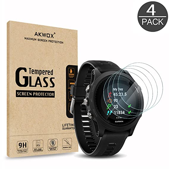 (Pack of 4) Tempered Glass Screen Protector for Garmin Forerunner 935, Akwox [