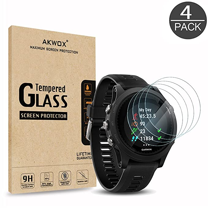 Amazon.com: (Pack of 4) Tempered Glass Screen Protector for Garmin Forerunner 935, Akwox [0.3mm 2.5D High Definition 9H] Premium Clear Screen Protector for ...