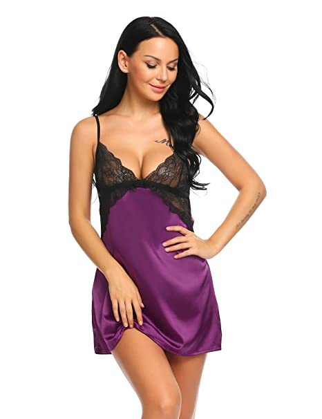 d200057f6c8 Declare Sexy Lingerie Women s Sleepwear Satin Lace Chemise Nightgown ...