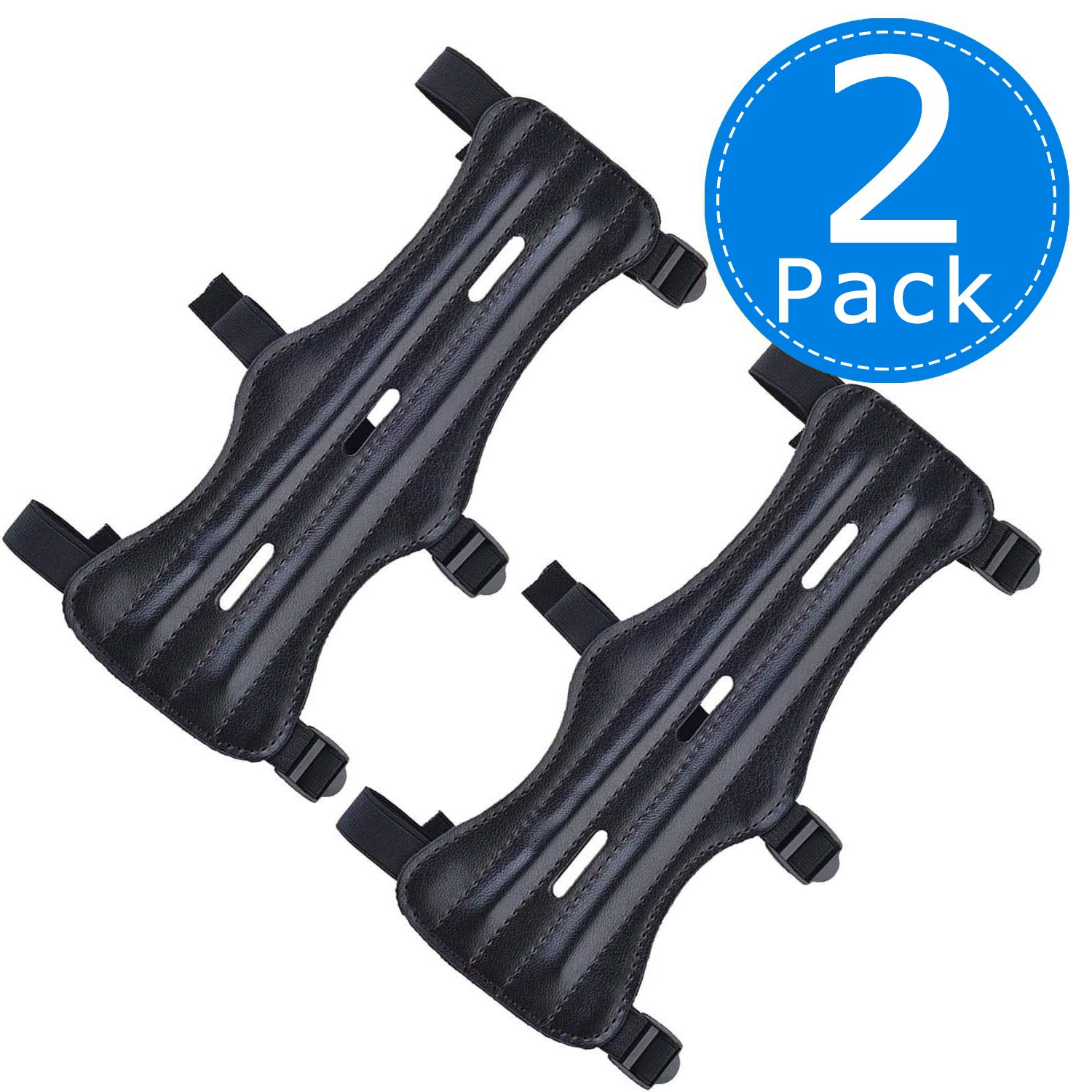 Archery Arm Guards Leather Forearm Protector Adjustable 3 Straps Buckles Bow Armguard (2 Pack) by PrtyKing