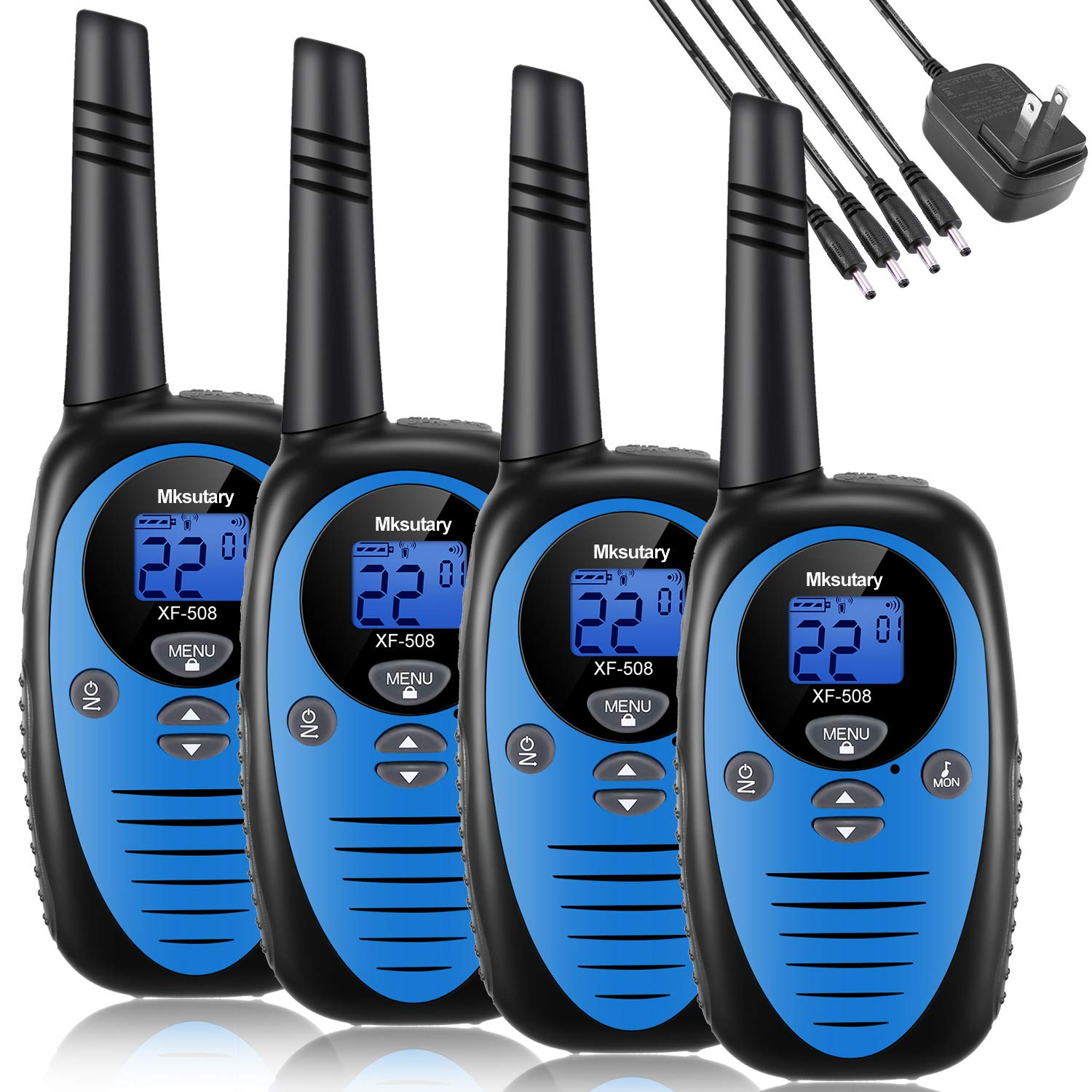 Walkie Talkies Rechargeable 4 Pack, Mksutary walkie talkies for Kids,2 Way Radios Kids Toys,Long Range 2 Miles,22 Channels Transceiver with DC Charger for Children Adults Biking Hiking Blue