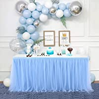 9FT Baby Blue Tulle Table Skirt 2 Layers Table Cover for Rectangle or Round Tables,Baby Shower,Birthday Party Decoration