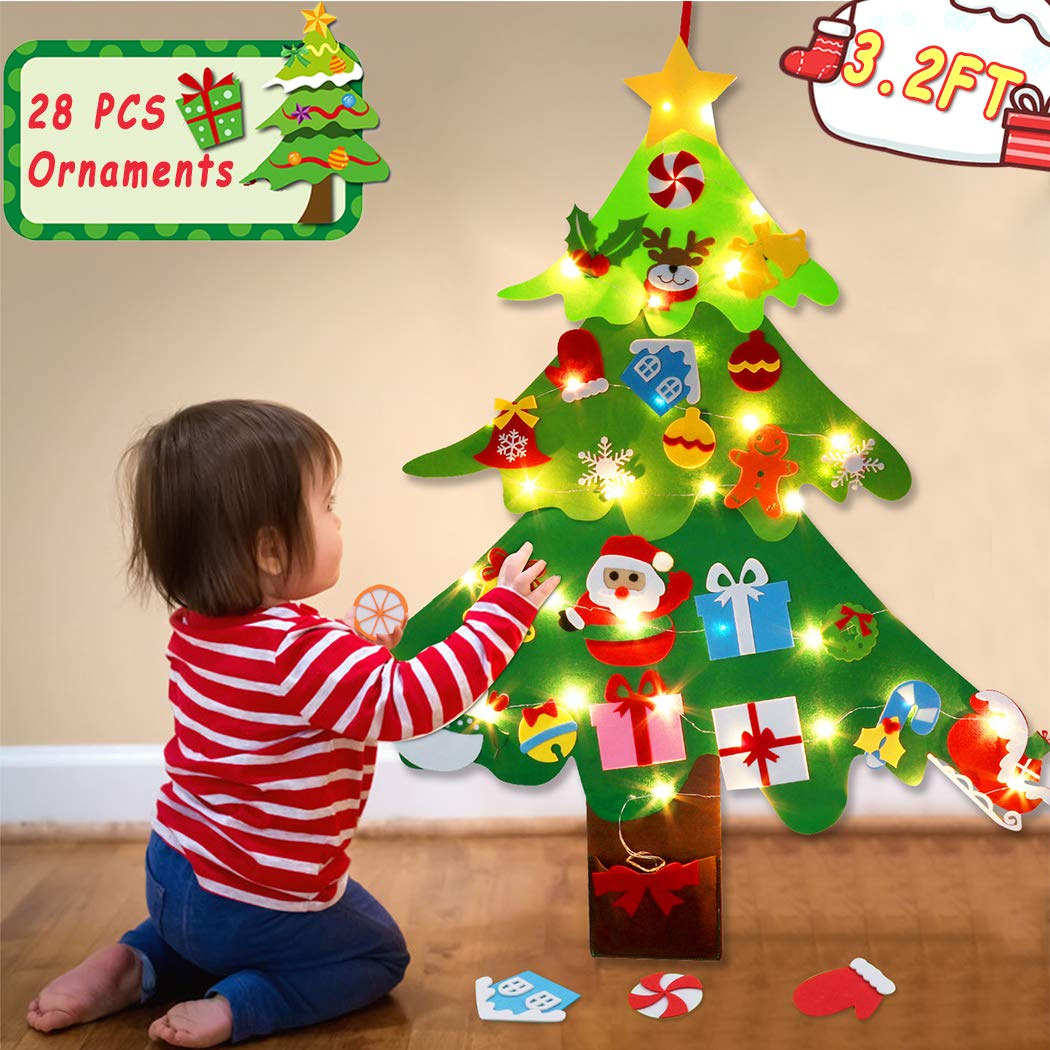 B bangcool Felt Christmas Tree Wall Décor, 3.2 FT Hanging DIY Felt Christmas Wall Decorations 28 PCS Ornaments for New Year