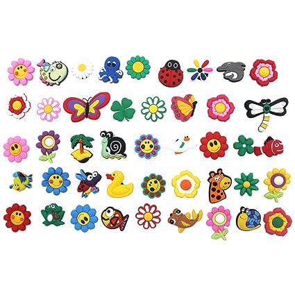 965deaa413d4b4 Amazon.com  42pcs Cute Flowers and animals Shoe Charms Shoe ...