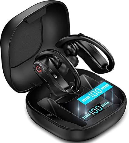 Amazon Com Wireless Earbuds Bluetooth Headphones 5 0 True Wireless Sport Earphones Built In Mic In Ear Running Headset With Earhooks Charging Case Compatible With Iphone 11 Pro Max Xs Xr Samsung Android Home Audio