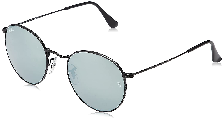 ab3fbb21117 Amazon.com  Ray-Ban RB3447 Round Metal Sunglasses Black Light Green Mirror  Silver 53mm  Clothing